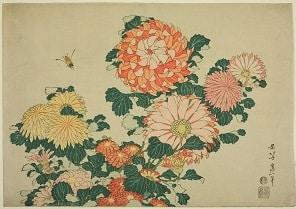 Chrysanthemums and Bee - Hokusai