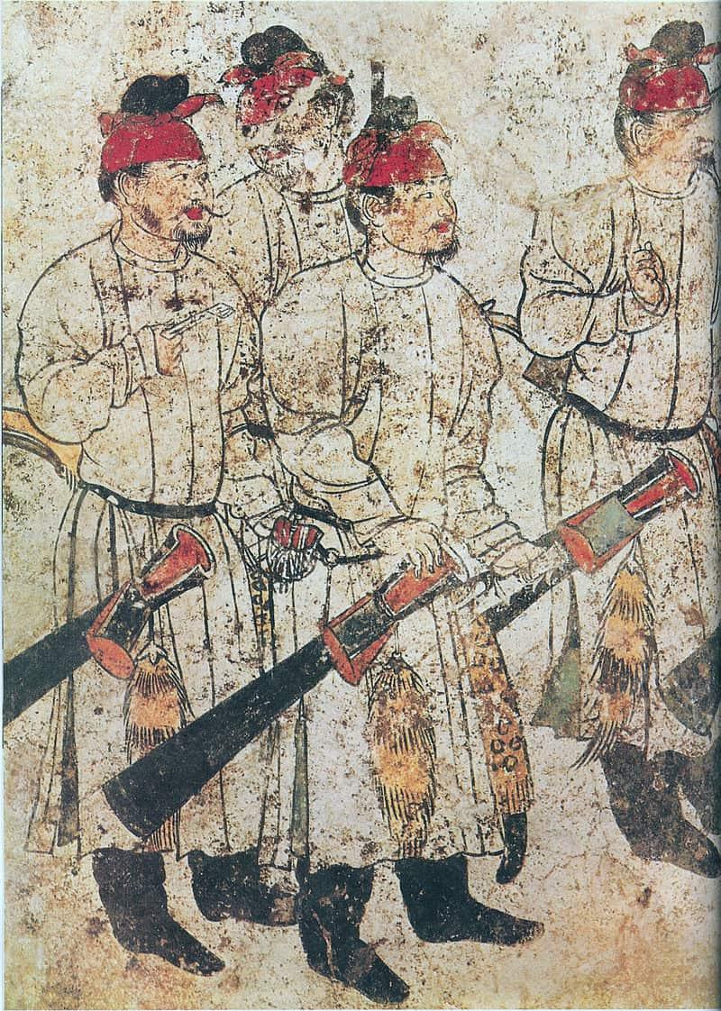 A mural painting of Li Xian's tomb