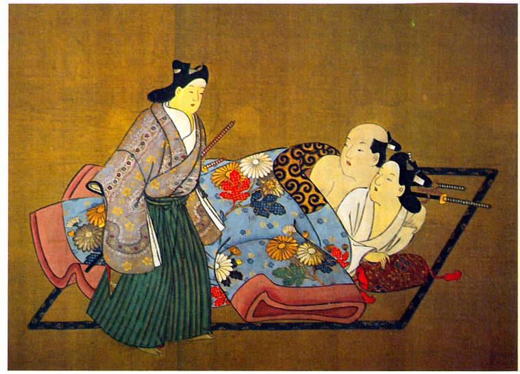 Three Samurai, the Flowered Robe by Nishikawa Sukenobu
