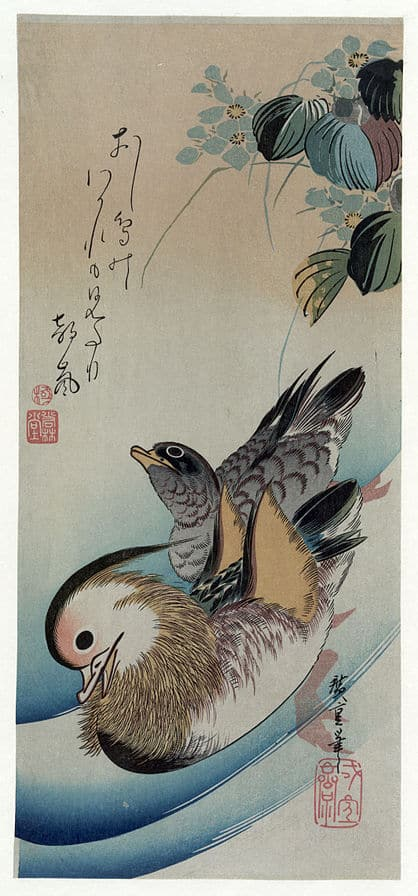 Two mandarins ducks Hiroshige