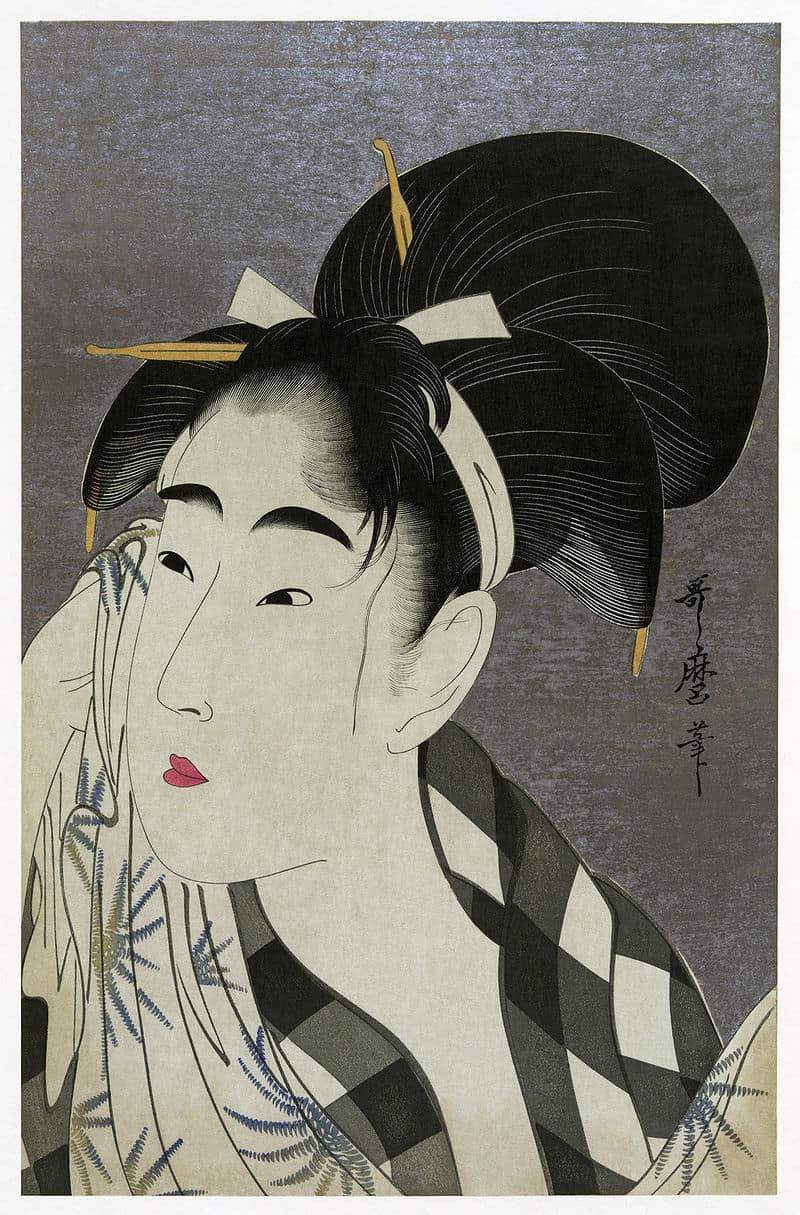 Woman Wiping Sweat, by Kitagawa Utamaro