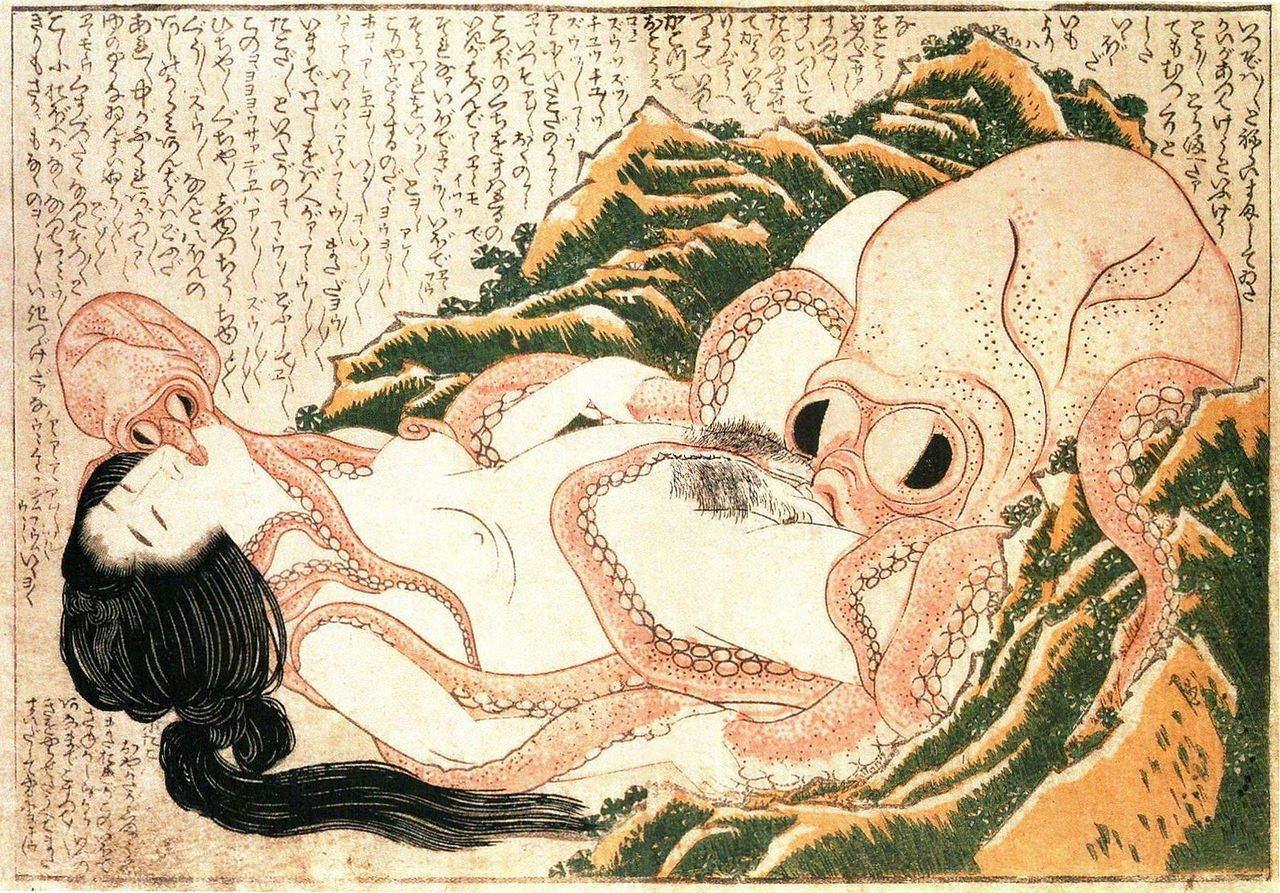 The Dream of the Fisherman's Wife, hokusai, 1814, shunga