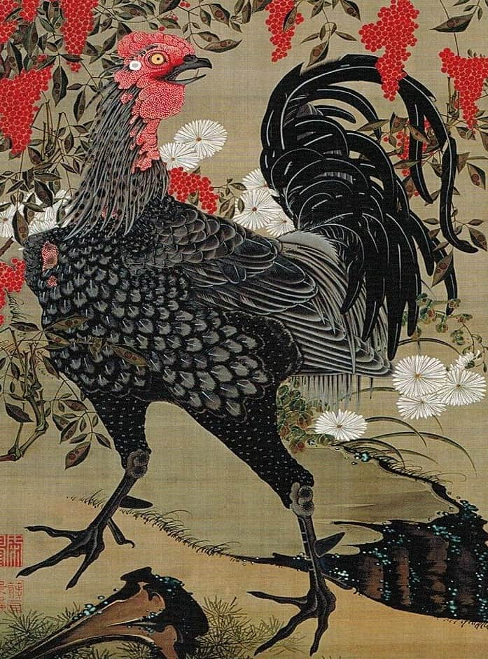 Nandina_and_Rooster_from_the_'Colorful_Realm_of_Living_Beings'_by_Ito_Jakuchu, ukiyo-e