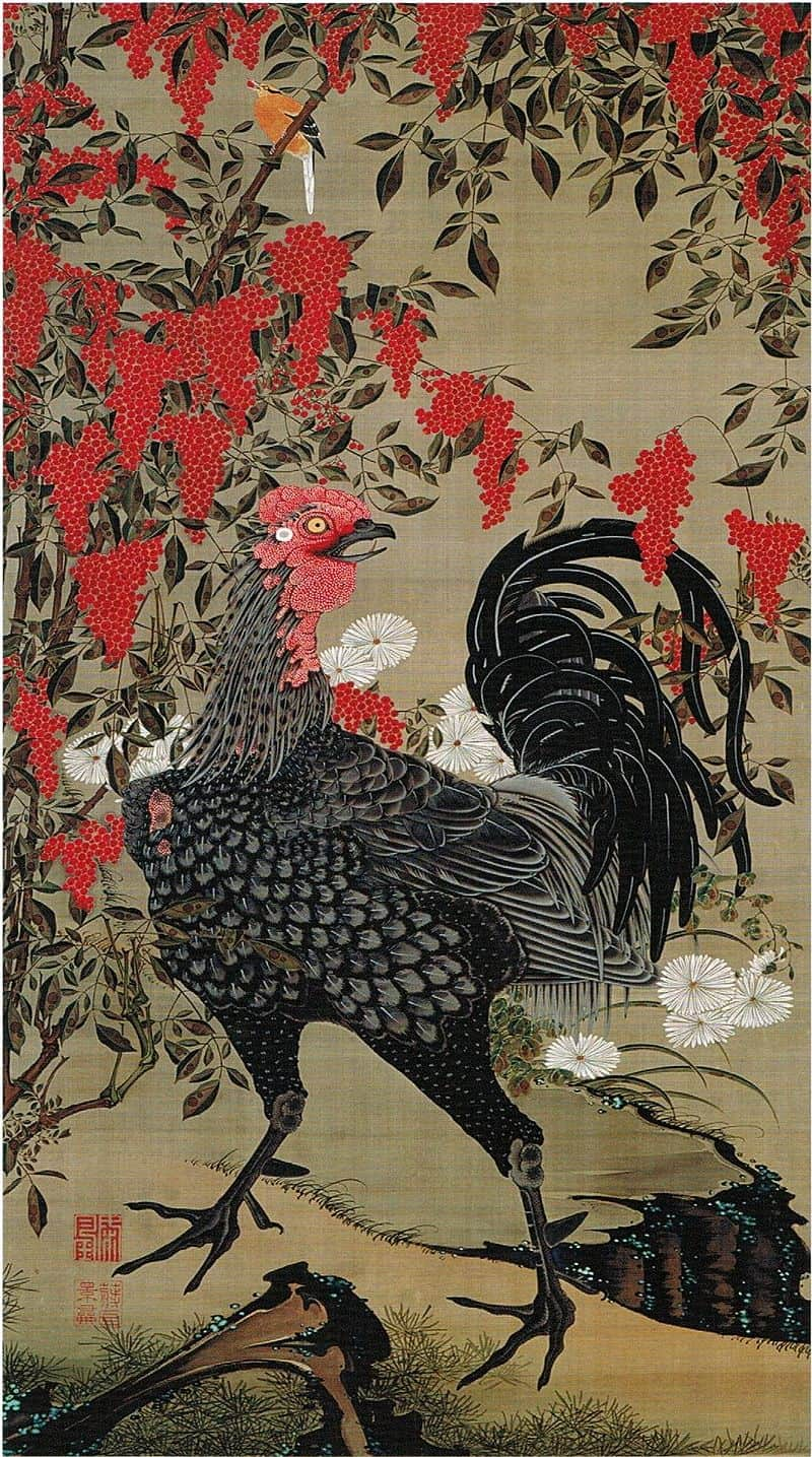 Nandina_and_Rooster_from_the_'Colorful_Realm_of_Living_Beings', ukiyo-e
