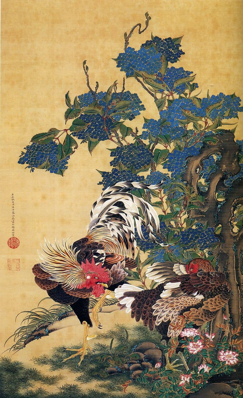 Rooster and Hen with Hydrangeas. Part of the series Dōshoku sai-e,by_Ito_Jakuchu, ukiyo-e