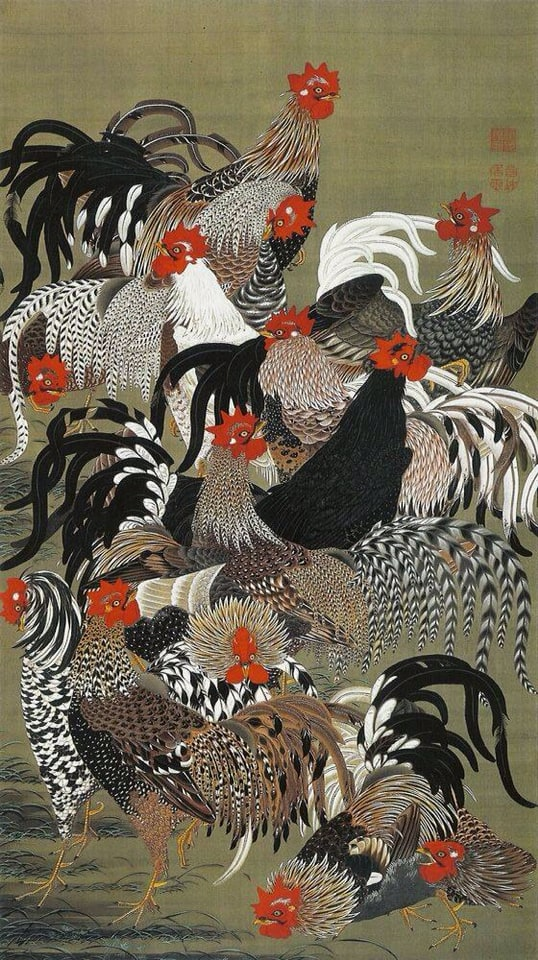 Roosters_from_the_'Colorful_Realm_of_Living_Beings', ukiyo-e