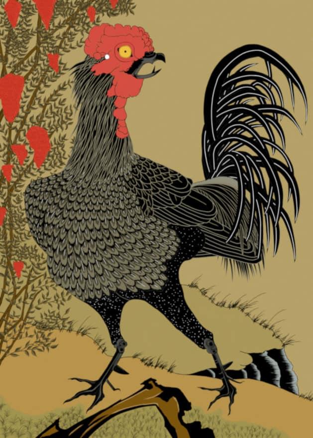 After ito jakuchu, Black Rooster and Nandina (1759) by RedSparkle (06-2019), ukiyo-e bird and flower