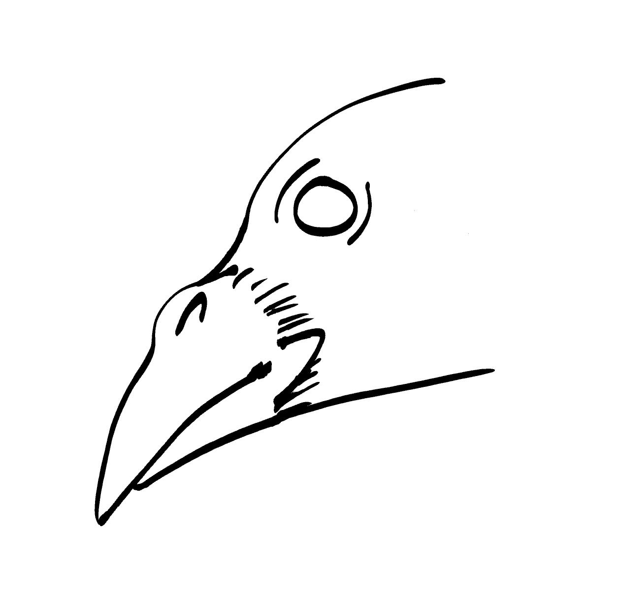 Crow Raven -ukiyo-e BlackandWhite 1 - beak(からす) by RedSparkle (11-2019)