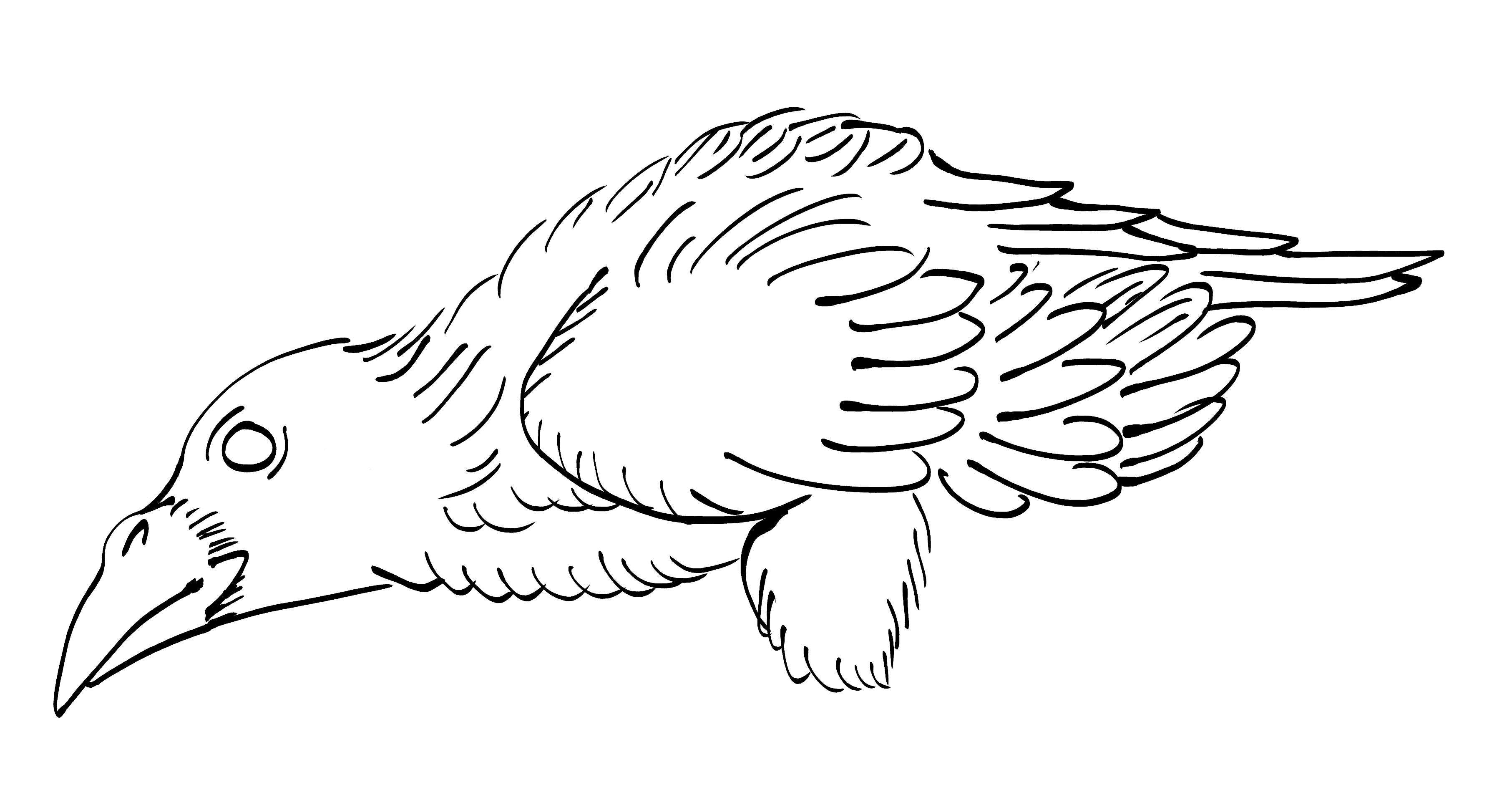 Crow Raven -ukiyo-e BlackandWhite6-(からす) by RedSparkle (11-2019)