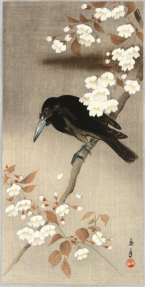 Crow and Cherry Blossoms (1930s) by Imao Keinen - ukiyo-e