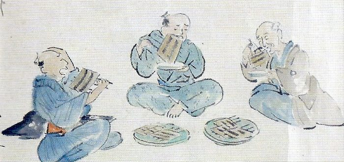 Edo period eating contest with grilled eel by unknown - ukiyo-e
