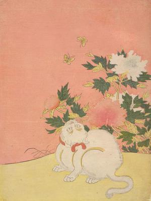 Cat, Butterflies, and Peonies (1766) by Suzuki Harunobu - kacho-ga