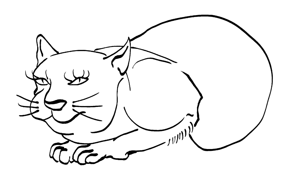 Cat -ukiyo-e BlackandWhite 9 - (猫) by RedSparkle (12-2019)