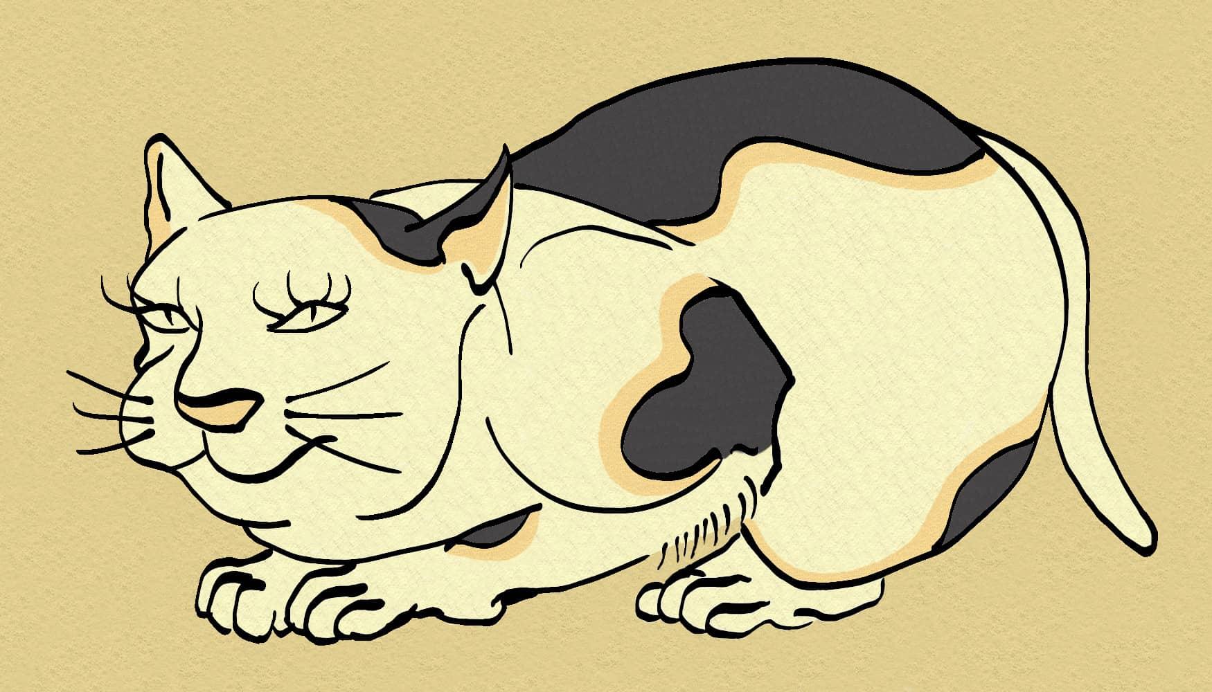 Cat -ukiyo-e Color-(猫) by RedSparkle (12-2019)