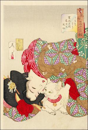 Looking Tiresome (1888) by Tsukioka Yoshitoshi - ukiyo-e geisha with cat