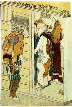 Hokusai, man peeping, ca. 1805, door open, shunga