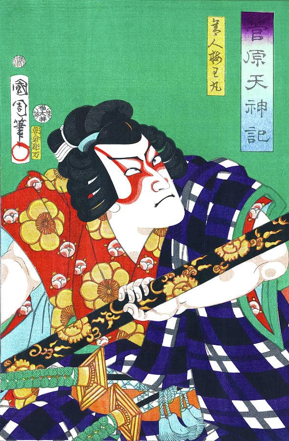 Kabuki Actor Ytani Tomomatsu In The Role Of Sodehagi, by Toyohara Kunichika, c. 1860, ukiyo-e, yakusha-e